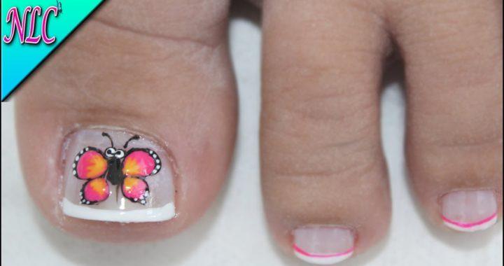 Unas Decoradas Pies Flores Y Mariposas