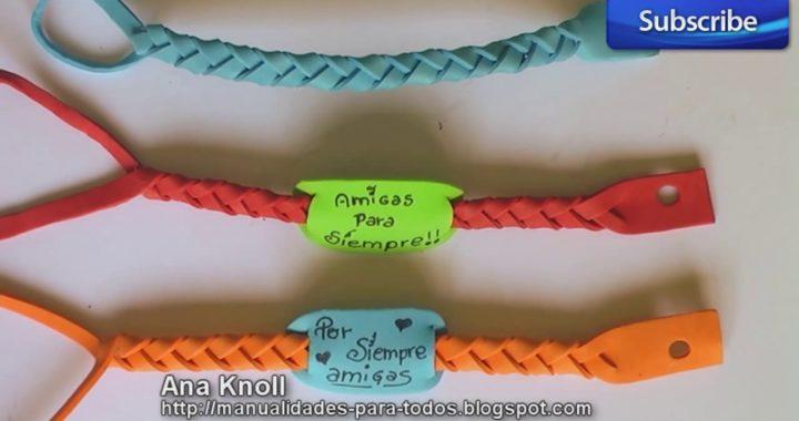 a5326e134b86 Cómo hacer pulseras de goma eva. Manualidades fáciles para niños ...
